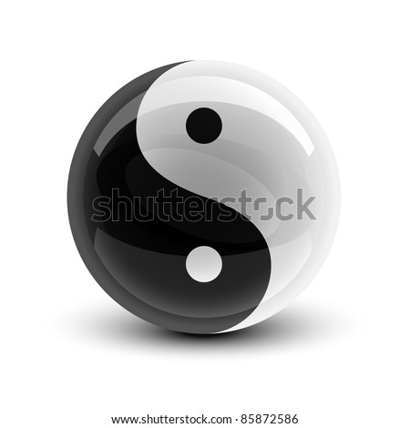 Yin and Yang symbol on a glossy ball - stock vector