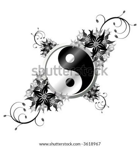 Yin and Yang symbol ornamented with flowers over white background - stock vector