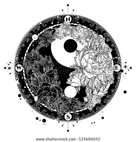 Yin and yang tattoo art vector black and white roses boho style meditation