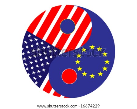 Yin and yang with america and european union flag