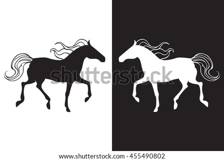 Yin yang background with two horses. Black and white horse.
