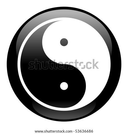 Yin-Yang Black Icon - stock vector