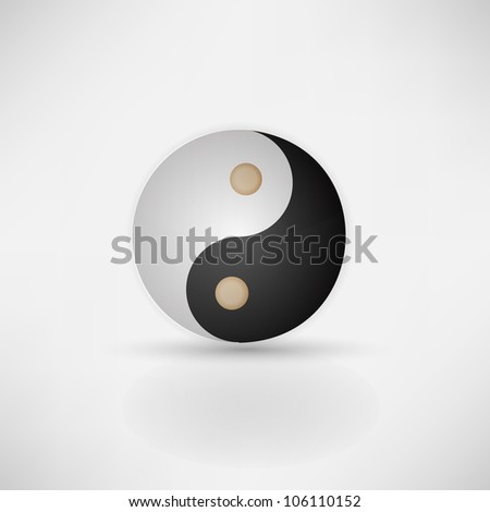 Yin yang glitter sign isolated on white, vector illustration
