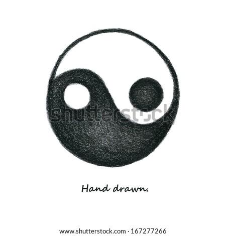 yin yang. hand drawn. vector eps8 - stock vector