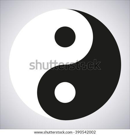 Yin Yang Icon on a gray background, stylish vector illustration - stock vector