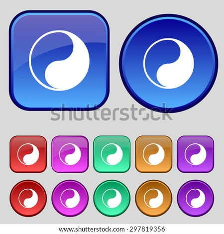 Yin Yang icon sign. A set of twelve vintage buttons for your design. Vector illustration - stock vector