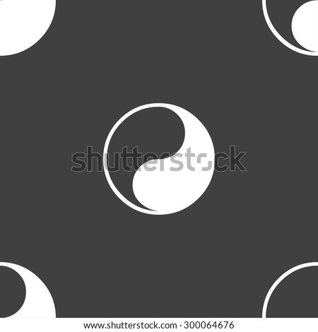 Yin Yang icon sign. Seamless pattern on a gray background. Vector illustration - stock vector