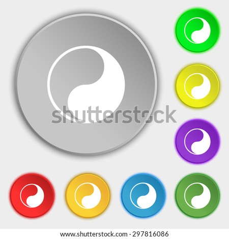 Yin Yang icon sign. Symbol on five flat buttons. Vector illustration - stock vector