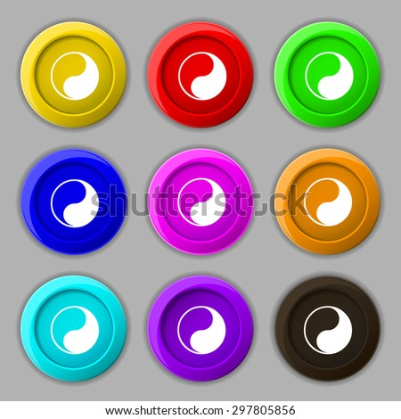 Yin Yang icon sign. symbol on nine round colourful buttons. Vector illustration - stock vector