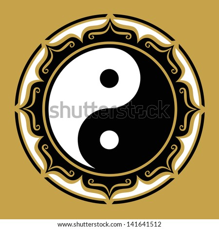 Yin Yang Lotus, Chinese Symbol, Philosophy - stock vector