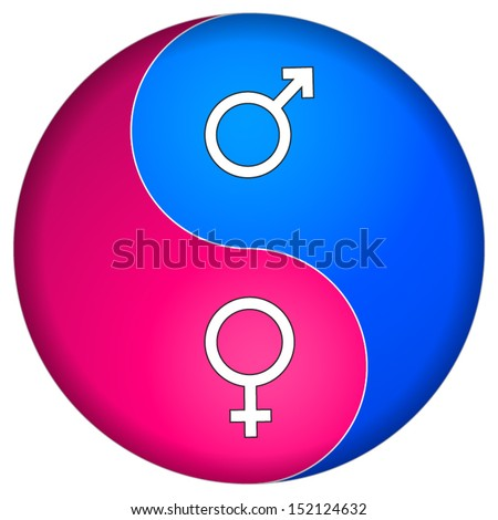 Yin Yang male female - stock vector