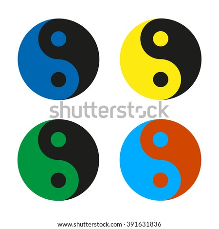 Yin Yang  multicolored set icon, isolated on a white background, vector illustration of a stylish for web design - stock vector
