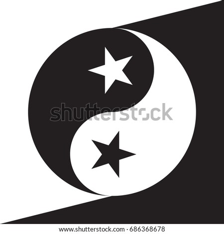 Yin Yang Sign With Stars Symbols Instead Of Dots Icon Creative Concept