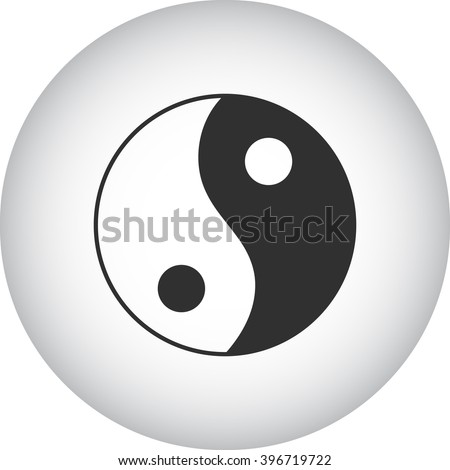 Yin Yang simple icon on round background