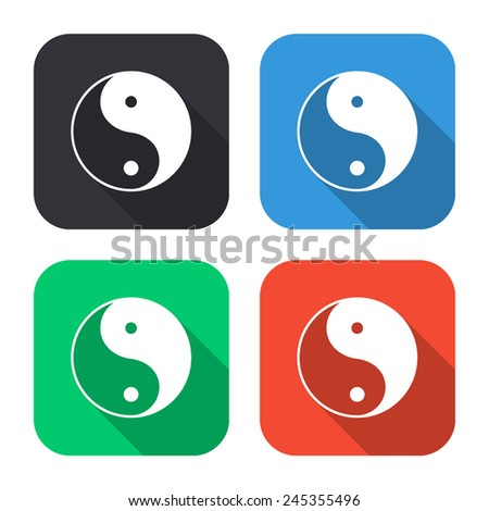 yin yang symbol - colored illustration (gray, blue, green, red) with long shadow - stock vector