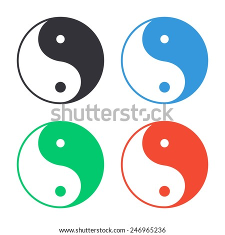 yin yang symbol icon - colored vector illustration - stock vector
