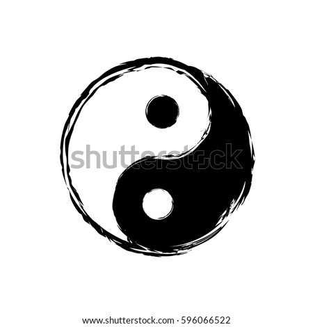 Yin Yang Symbol Icon Grunge Style Stockvector 596066522 Shutterstock