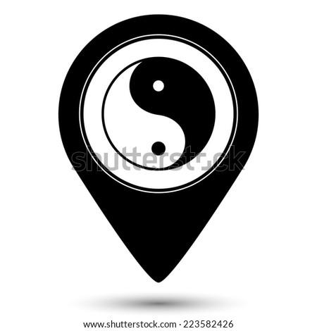 Yin yang symbol icon - vector map pointer - stock vector