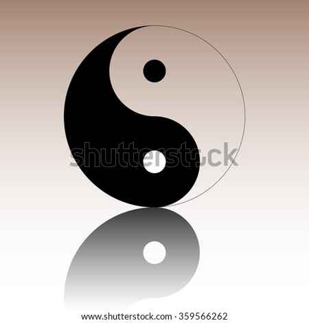 Yin yang symbol of harmony and balance. Black vector illustration with reflection.