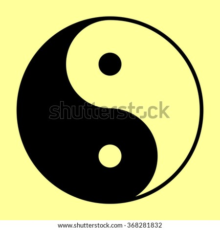 Yin yang symbol of harmony and balance. Flat style icon. Black vector illustration. - stock vector