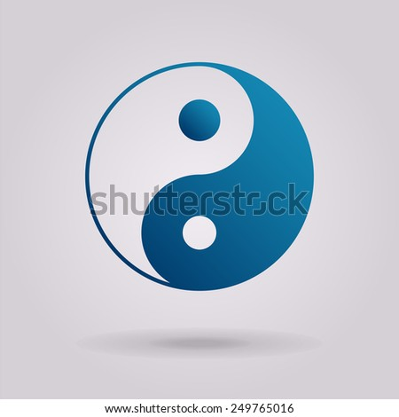 Yin yang symbol of harmony and balance. Vector icon. The illustration on gray background - stock vector