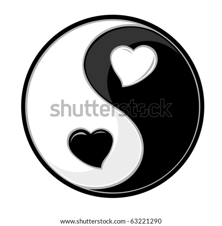 Yin yang symbol of harmony and love - stock vector