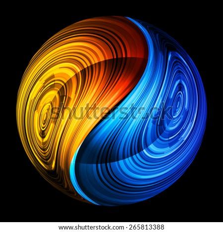 Yin Yang Symbol Orange Blue Color Stock Vector 265813388 Shutterstock