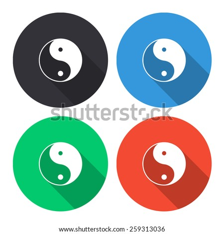 yin yang symbol vector icon - colored(gray, blue, green, red) round buttons with long shadow - stock vector