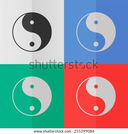 Yin yang symbol vector icon. Effect of folded paper. Colored (red, blue, green) illustrations. Flat design - stock vector
