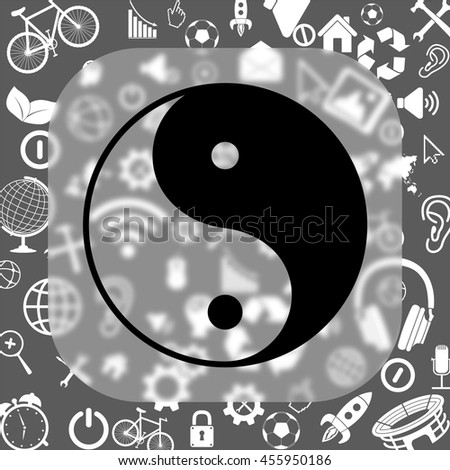 yin yang symbol vector icon - matte glass button on background consisting of different icons - stock vector