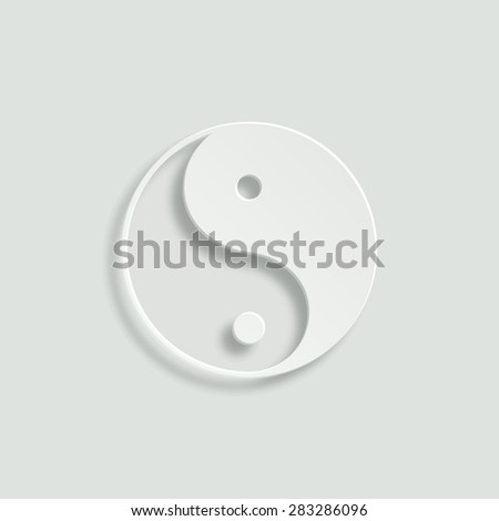 yin yang symbol vector icon - paper illustration - stock vector