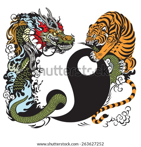 yin yang symbol with dragon and tiger fight, tattoo illustration  - stock vector