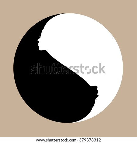 Yin Yang symbol with human faces - stock vector