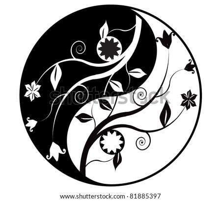 Yin yang symbol with ornaments - stock vector