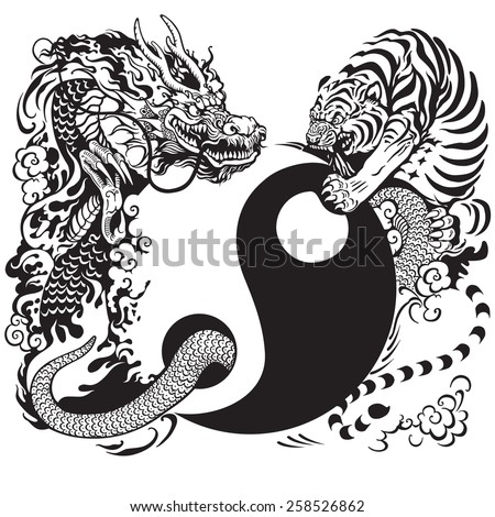 yin yang symbol with tiger and dragon fighting , black and white tattoo illustration - stock vector