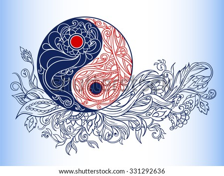 Yin yang symbols as an allegory of opposites and philosophy of life - stock vector