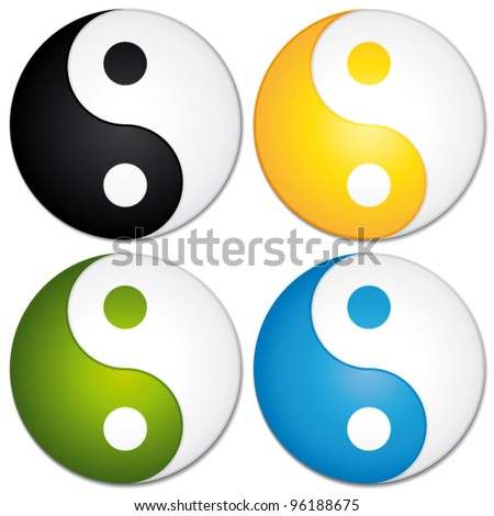 Yin yang symbols set. Colorful vector icons. - stock vector