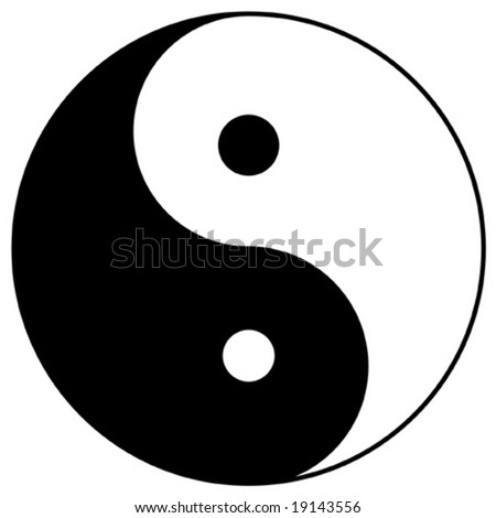 yin yang, taoistic symbol of harmony and balance - stock vector