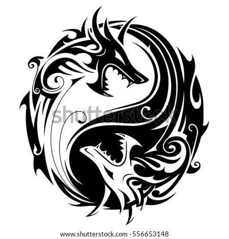 yin yang tattoo symbol shaped two stock vector royalty. Black Bedroom Furniture Sets. Home Design Ideas