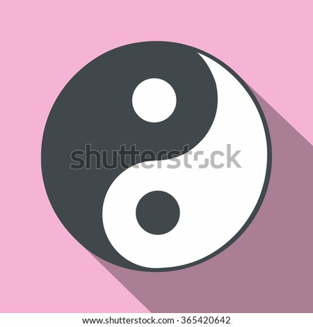 Ying yang flat icon on a pink background - stock vector