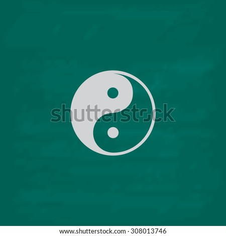 Ying-yang icon of harmony and balance. Icon. Imitation draw with white chalk on green chalkboard. Flat Pictogram and School board background. Vector illustration symbol - stock vector