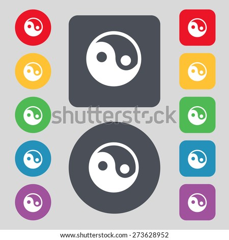 Ying yang icon sign. A set of 12 colored buttons. Flat design. Vector illustration - stock vector