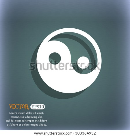 Ying yang  icon symbol on the blue-green abstract background with shadow and space for your text. Vector illustration - stock vector