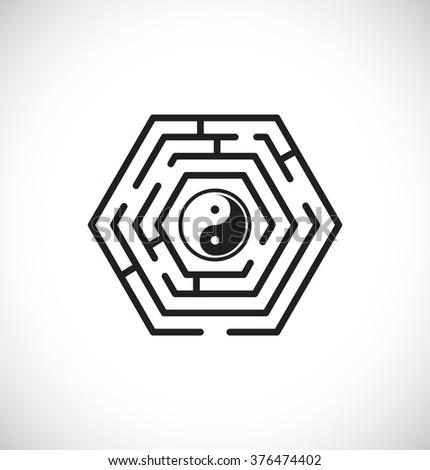ying yang inside maze labyrinth - web icon - stock vector
