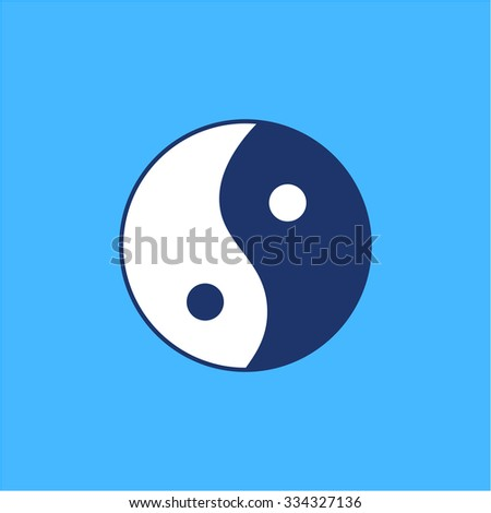 Ying yang linear white and blue icon symbol of harmony and balance on blue background | flat design alternative healing illustration and infographic - stock vector