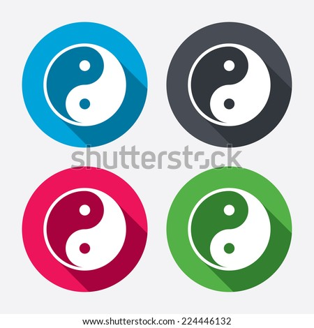 Ying yang sign icon. Harmony and balance symbol. Circle buttons with long shadow. 4 icons set. Vector - stock vector