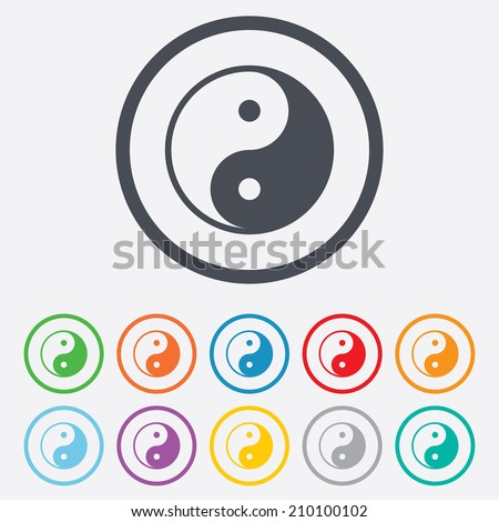 Ying yang sign icon. Harmony and balance symbol. Round circle buttons with frame. Vector - stock vector