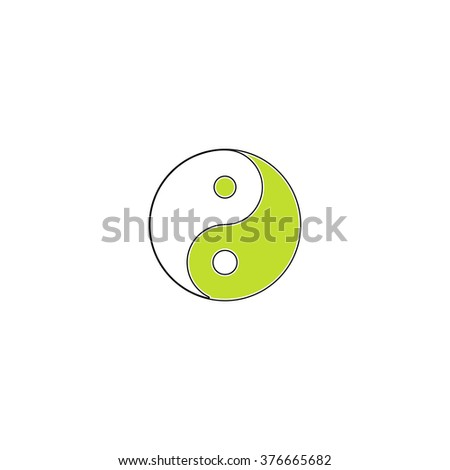 Ying yang simple flat icon