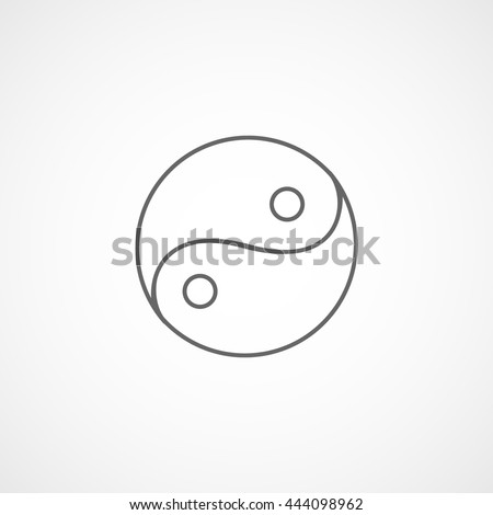 Ying Yang Symbol Line Icon On White Background - stock vector