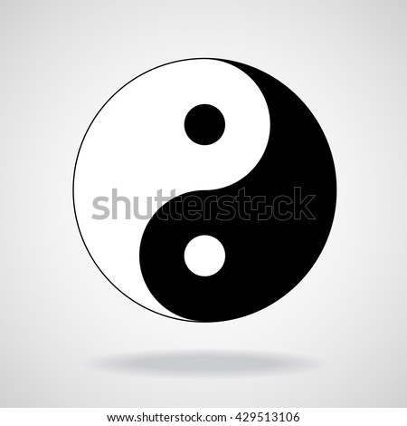 Ying yang symbol of harmony and balance. Black and white, vector illustration, eps 10 - stock vector